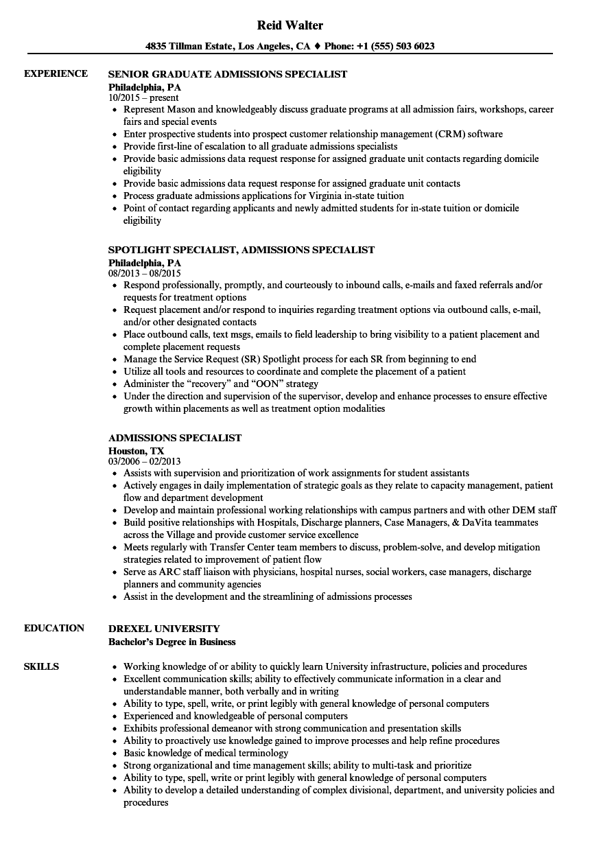 Admissions Specialist Resume Samples