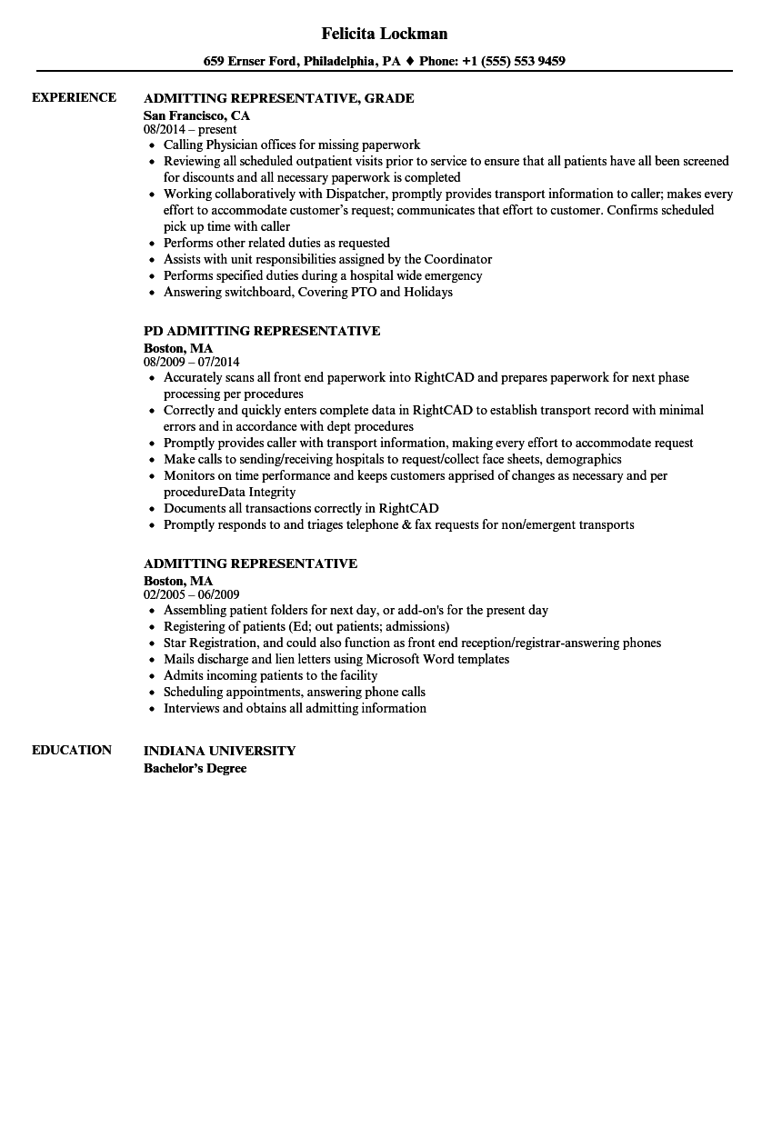Admitting Representative Resume