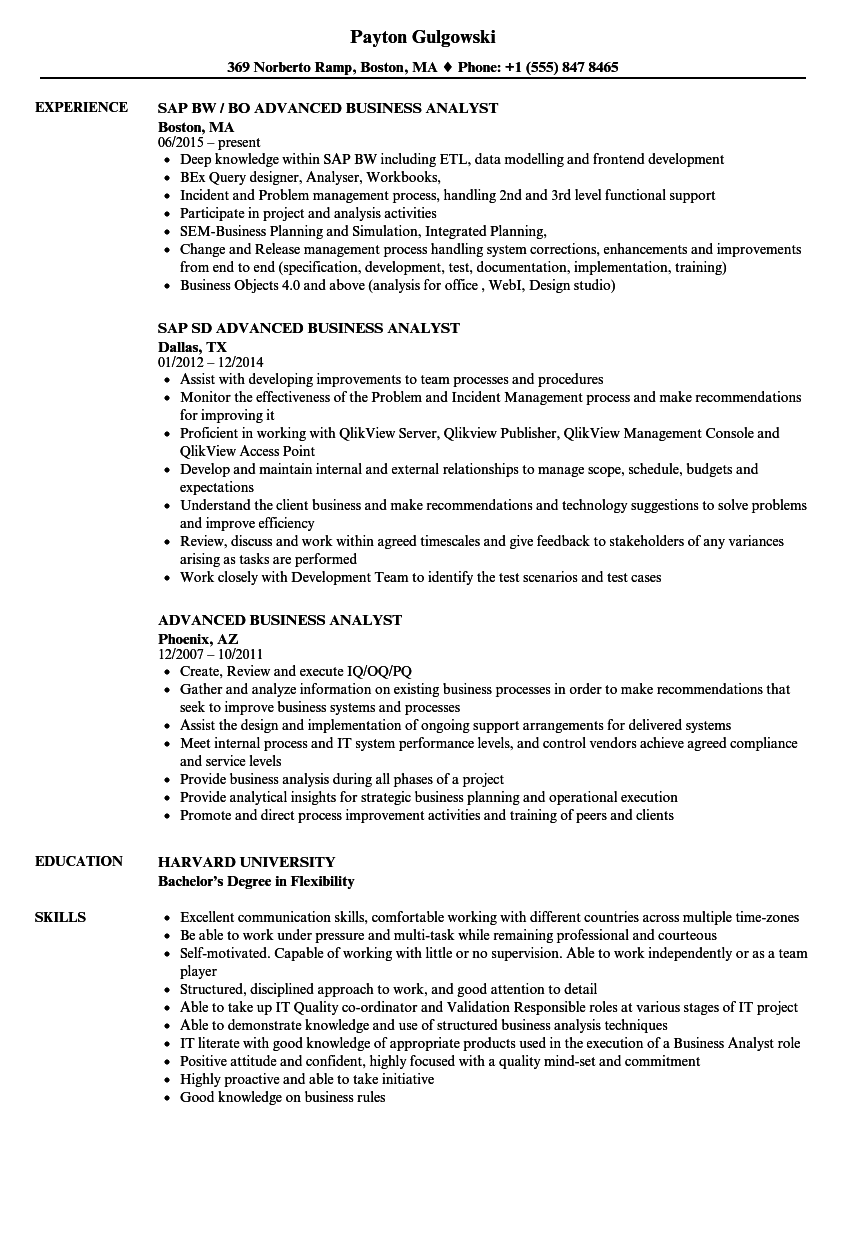 advanced business analyst resume samples