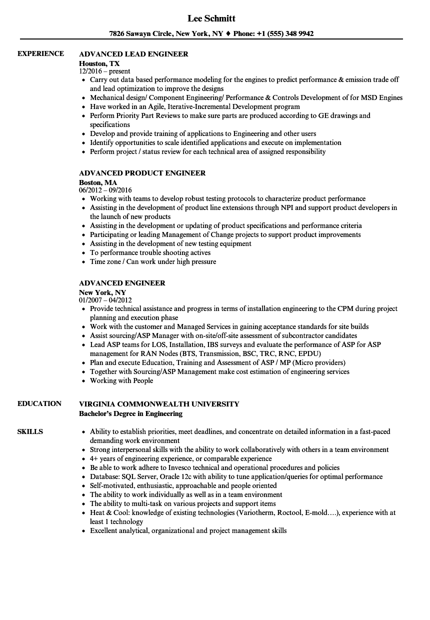 advanced engineer resume samples velvet jobs