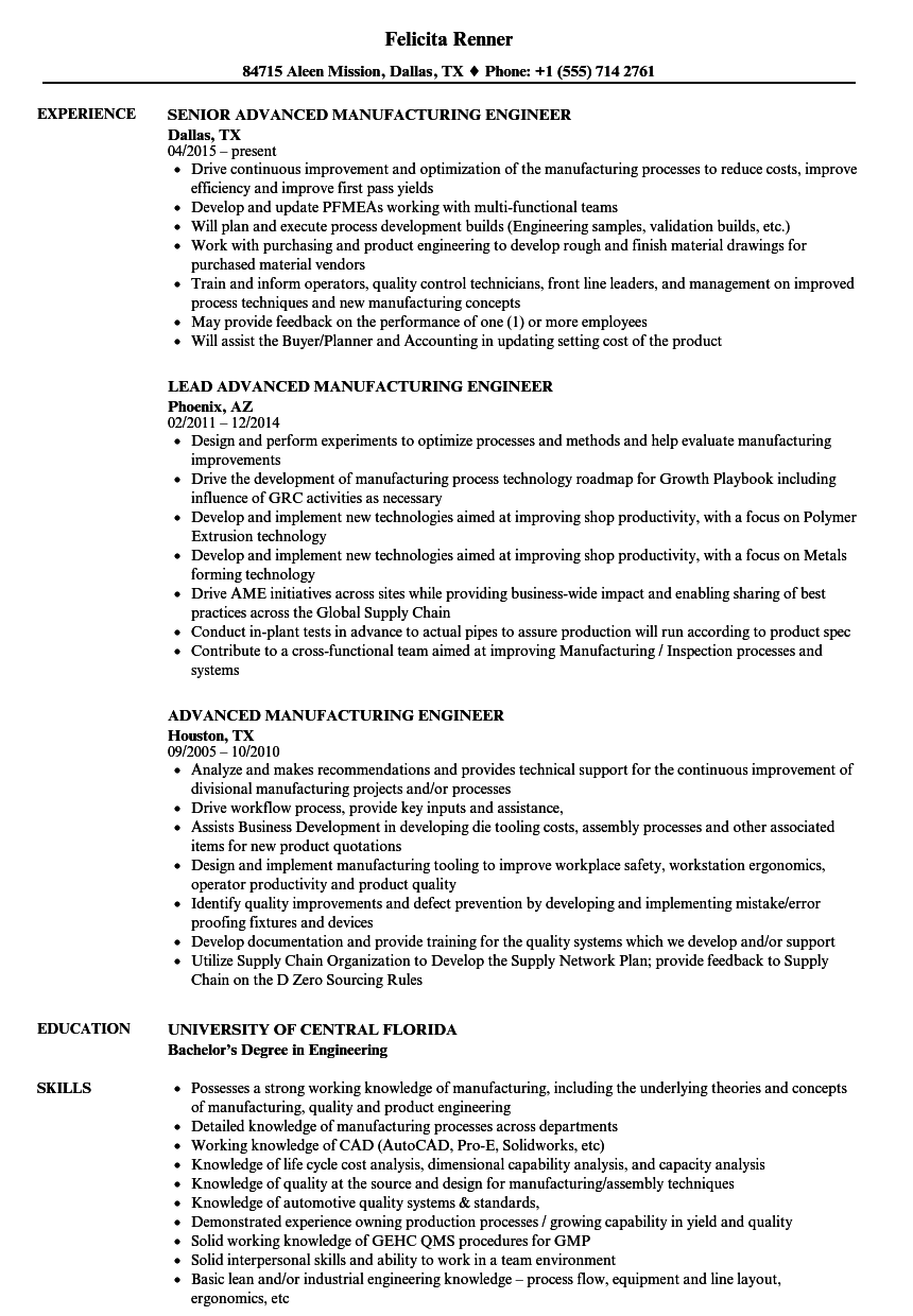 advanced manufacturing engineer resume samples velvet jobs