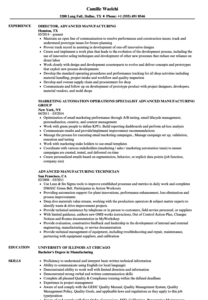 advanced manufacturing resume samples