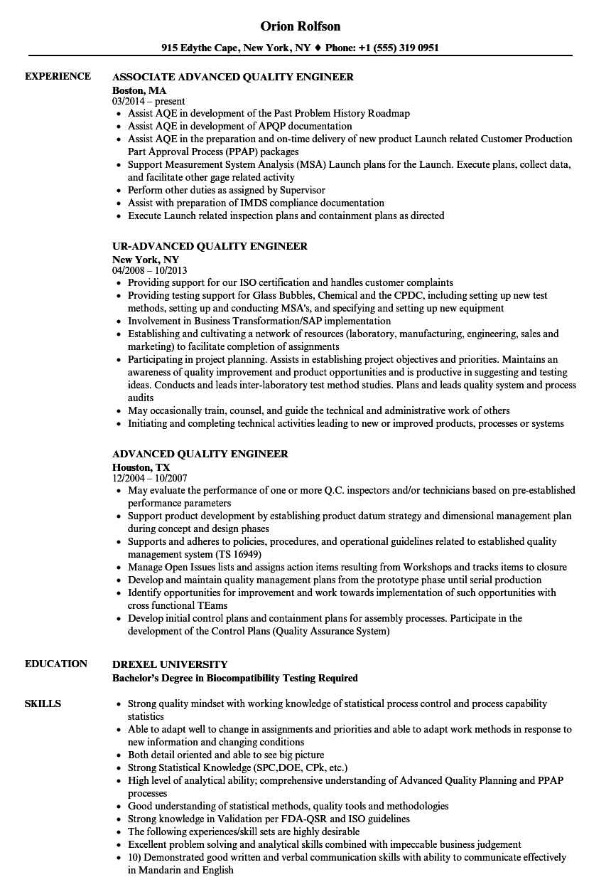 Advanced Quality Engineer Resume Samples | Velvet Jobs