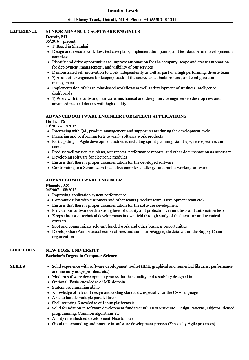 download advanced software engineer resume sample as image file