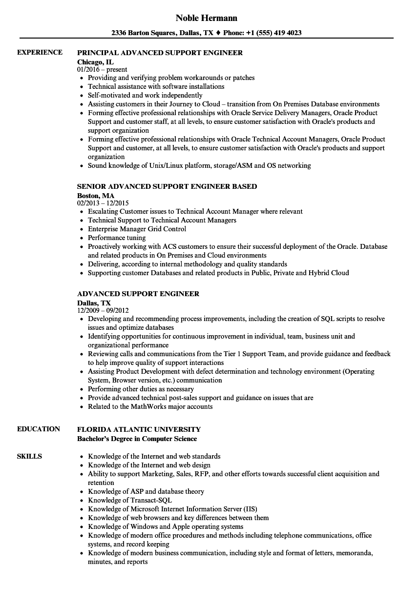 advanced support engineer resume samples