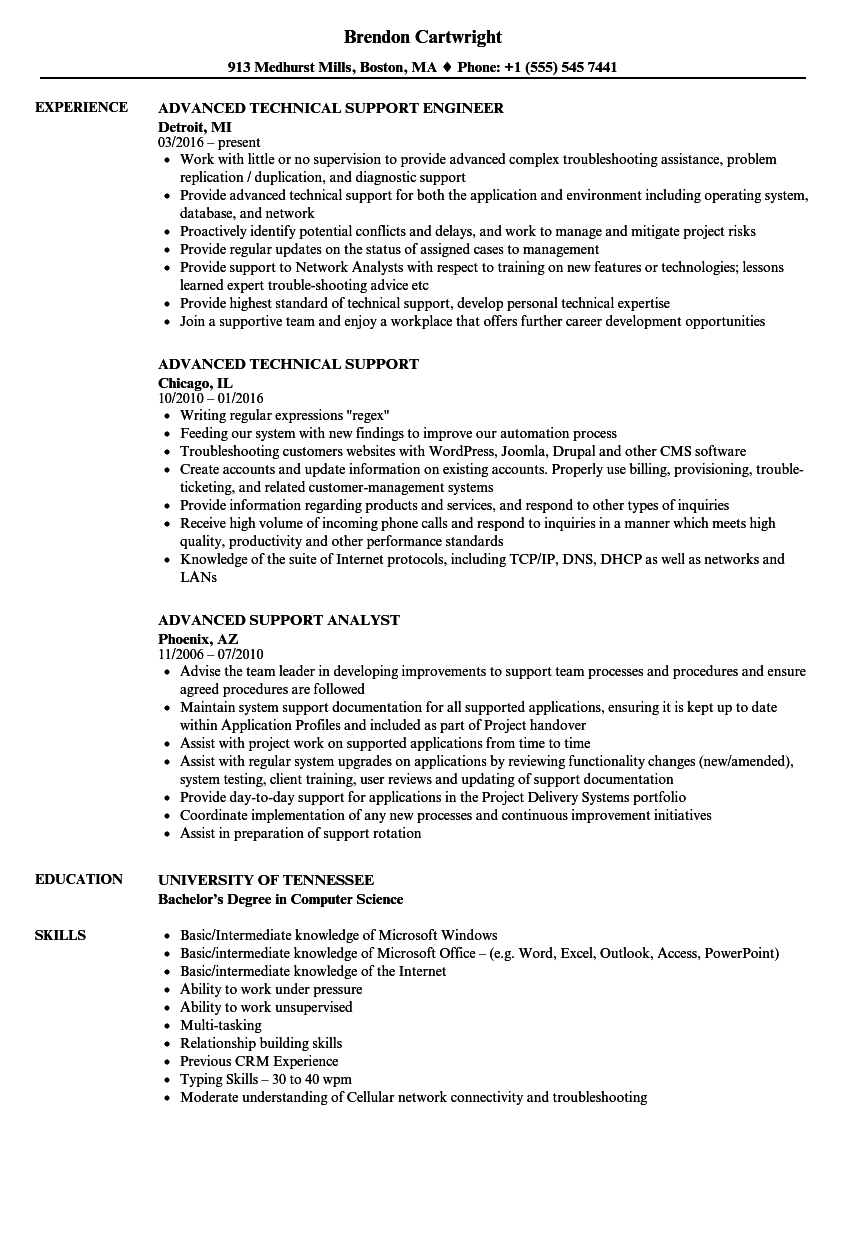 advanced support resume samples