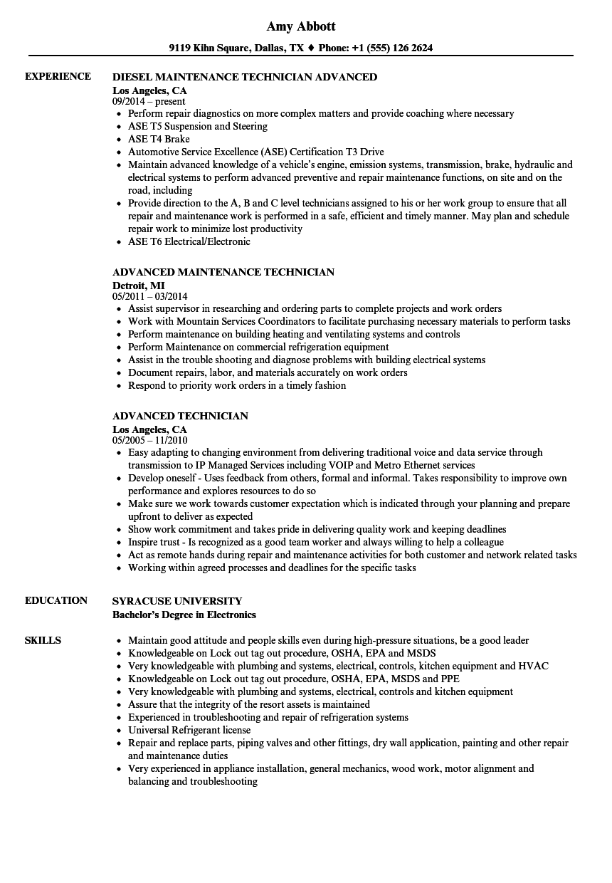 advanced technician resume samples
