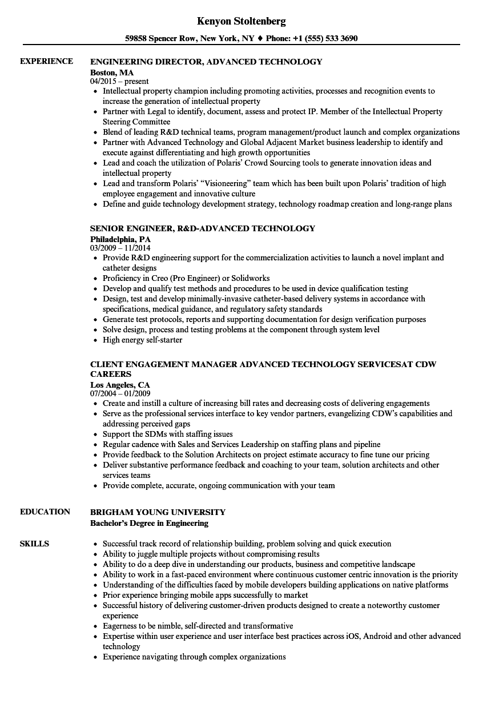 Advanced Technology Resume Samples | Velvet Jobs