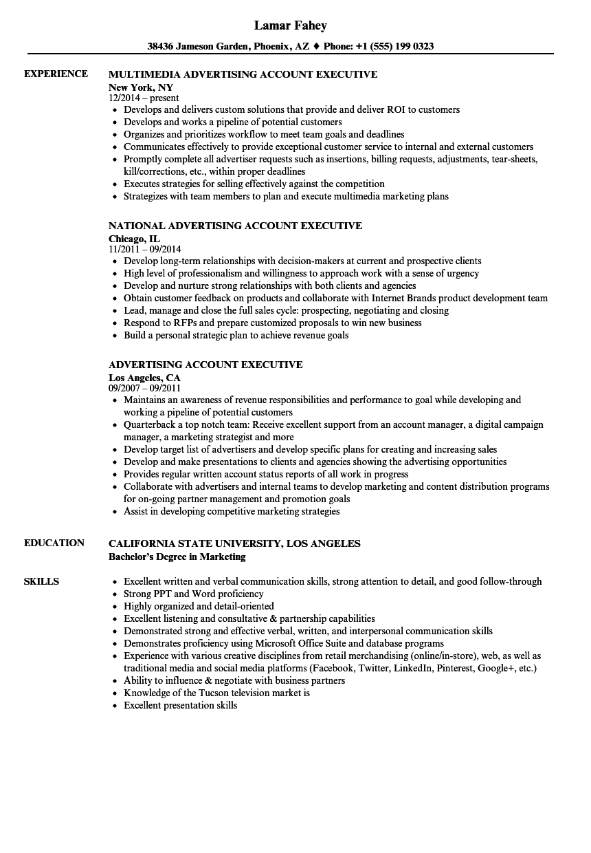 Advertising Account Executive Resume Samples Velvet Jobs Manager