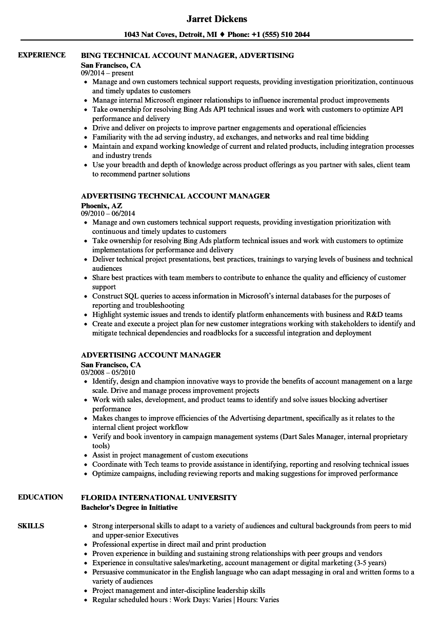 Advertising Account Manager Resume Samples