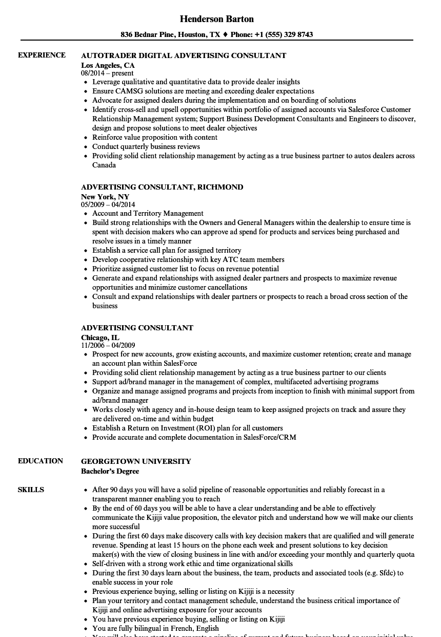 Advertising Consultant Resume Samples Velvet Jobs