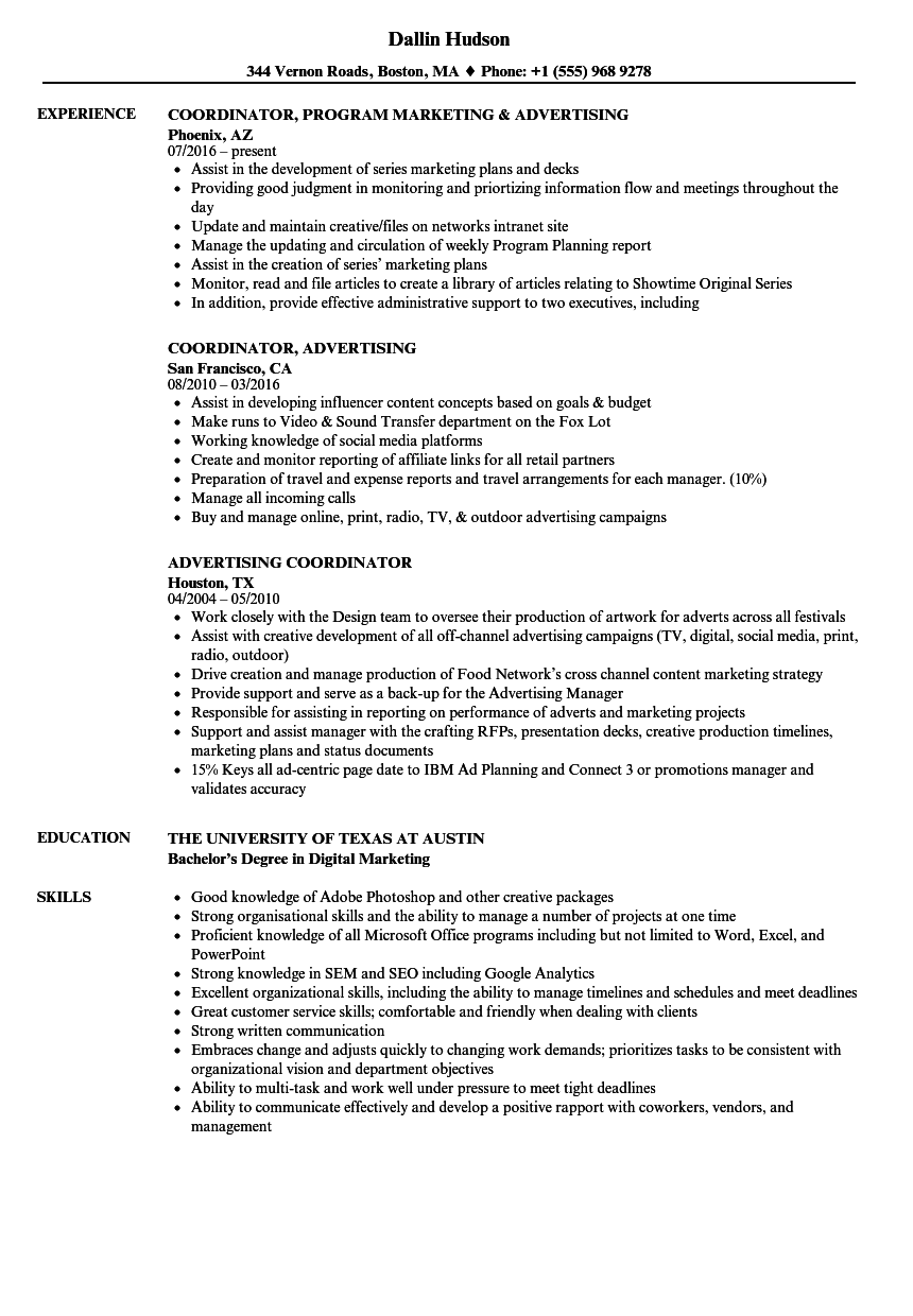 Advertising Coordinator Resume Samples | Velvet Jobs