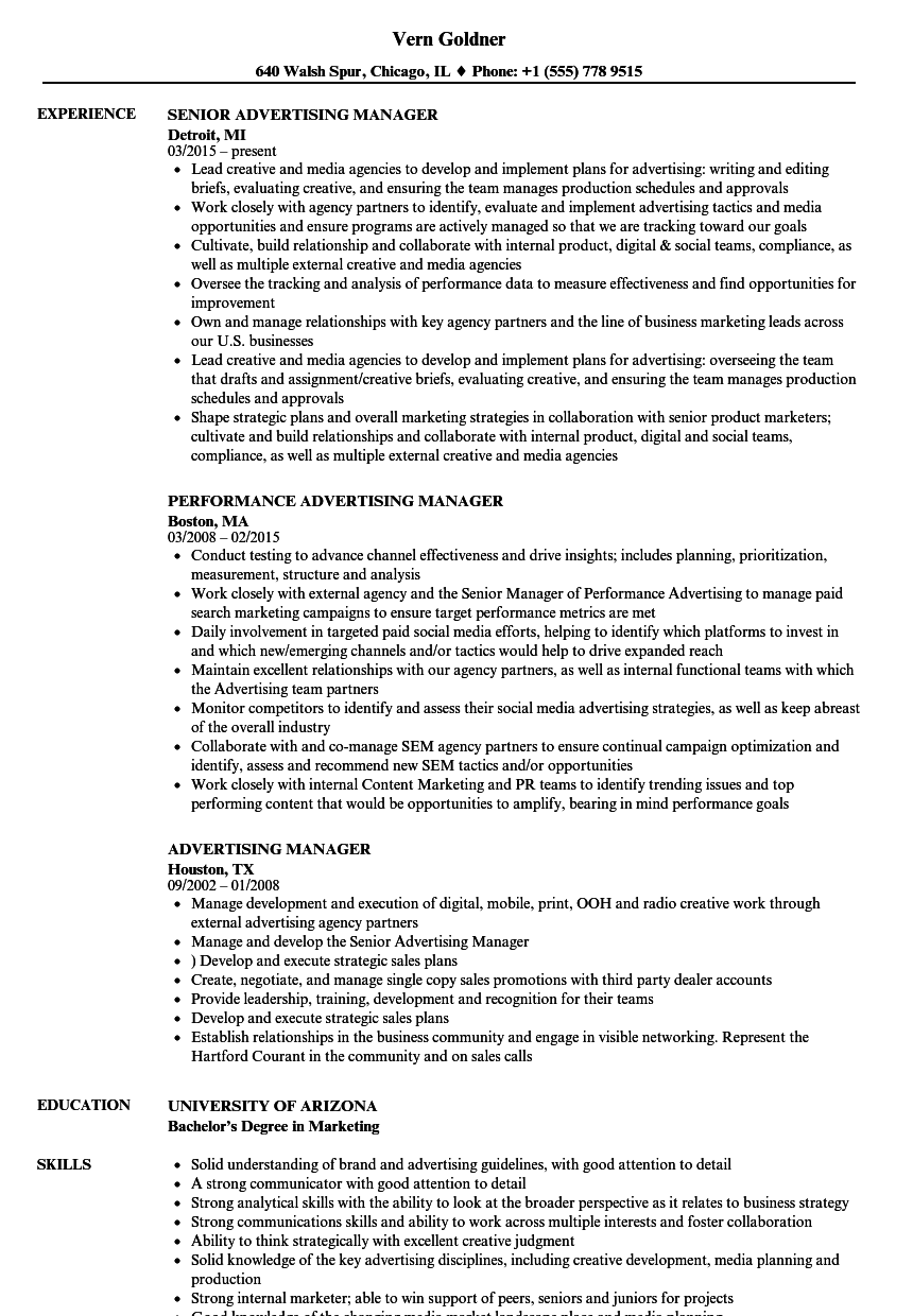 Download Advertising Manager Resume Sample As Image File