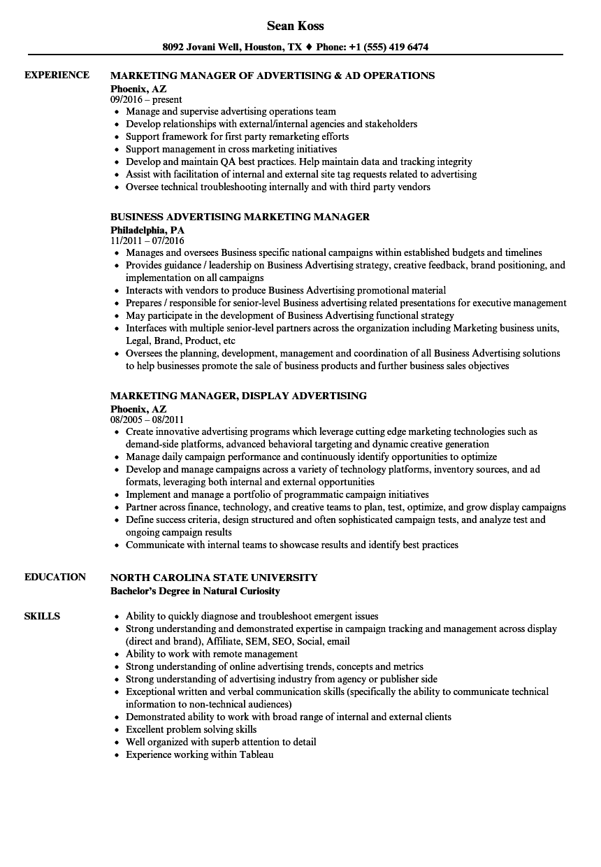 advertising marketing manager resume samples velvet jobs
