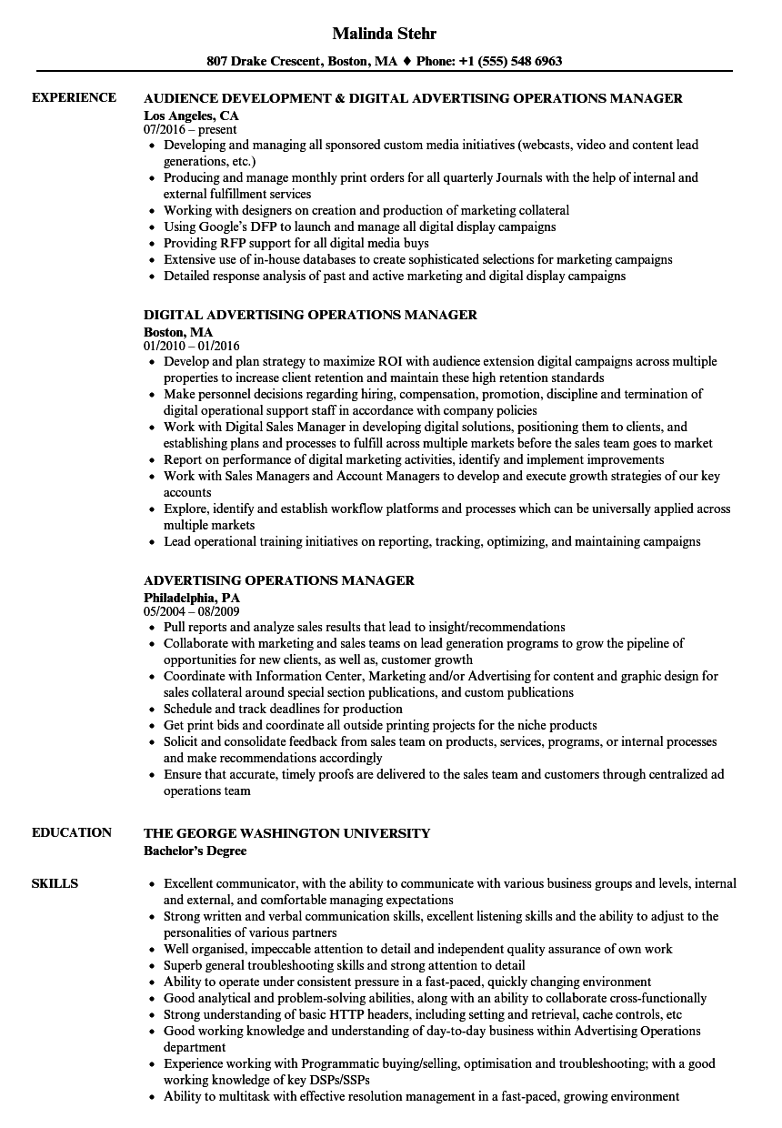 Download Advertising Operations Manager Resume Sample As Image File