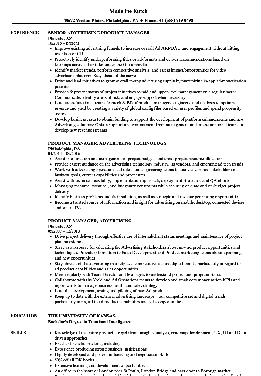 Advertising Product Manager Resume Samples Velvet Jobs