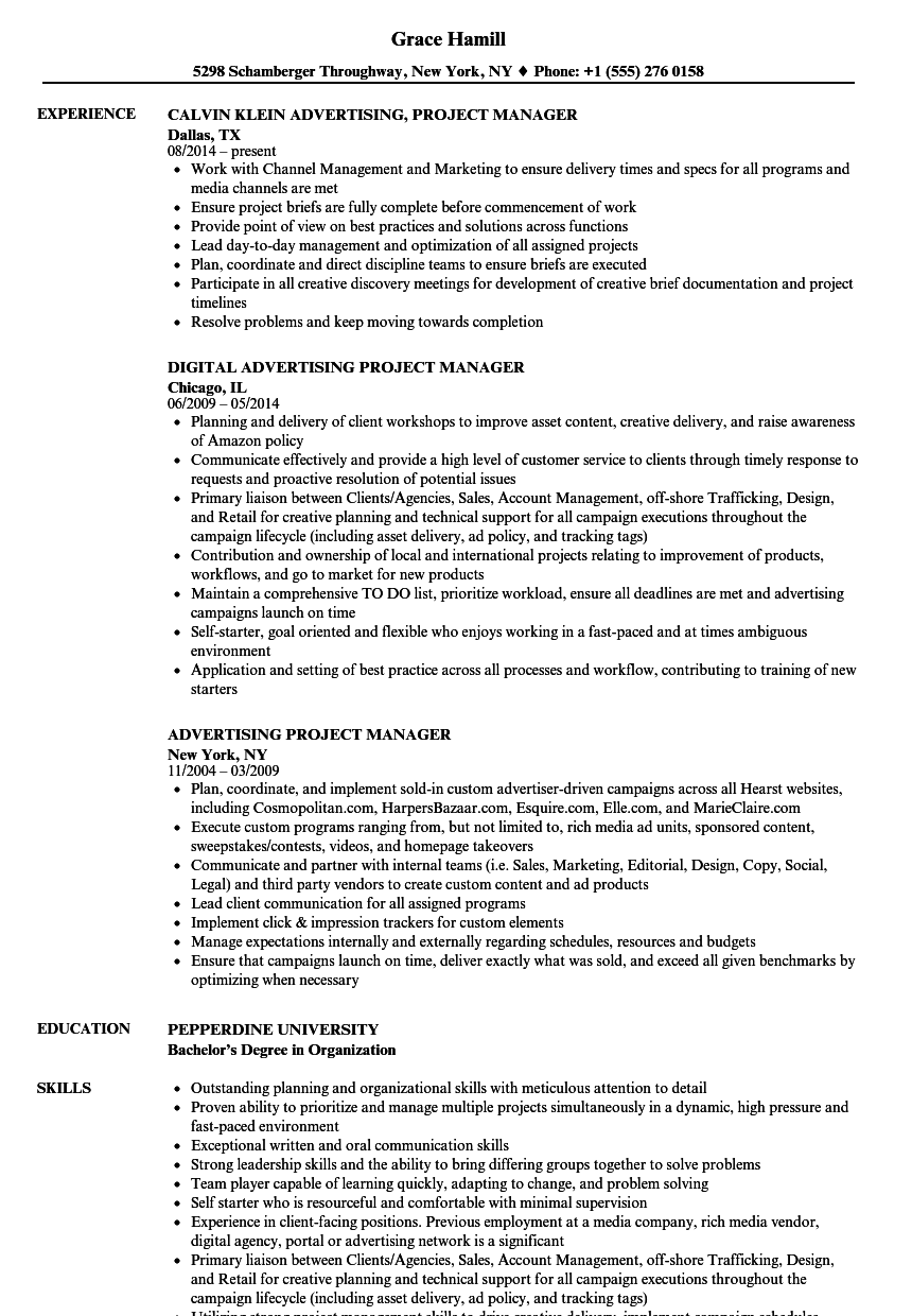 Advertising Project Manager Resume Samples | Velvet Jobs