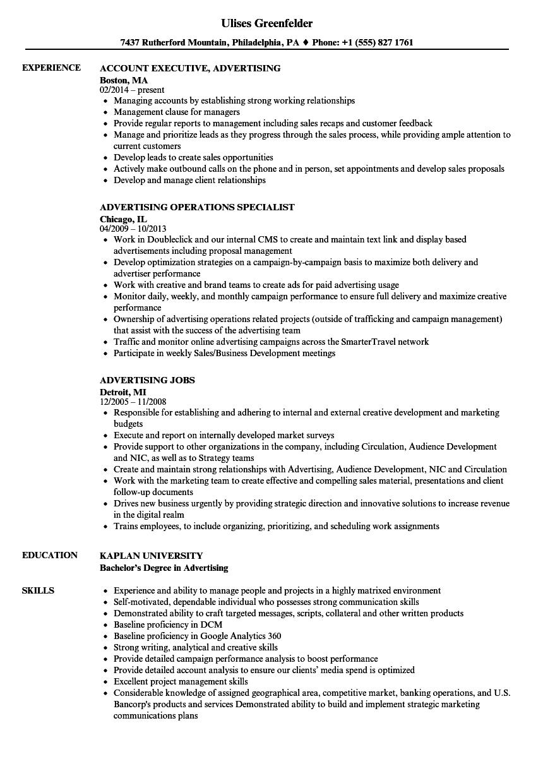 advertising resume samples
