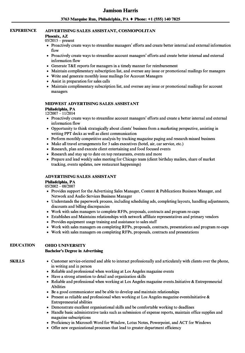 download advertising sales assistant resume sample as image file - Sales Assistant Resume