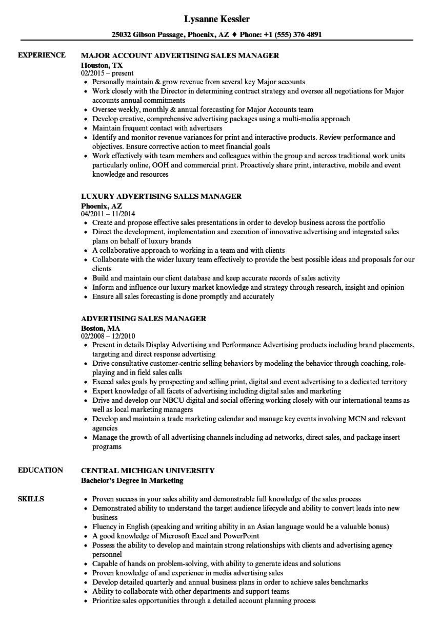 Advertising Sales Manager Resume Samples Velvet Jobs