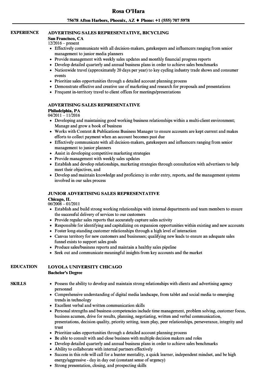 Advertising Sales Representative Resume Samples | Velvet Jobs