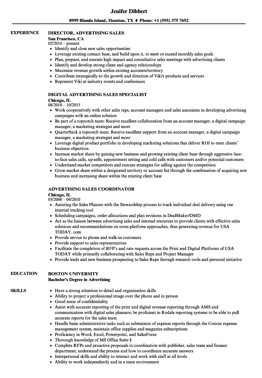 Download Advertising Sales Resume Sample As Image File