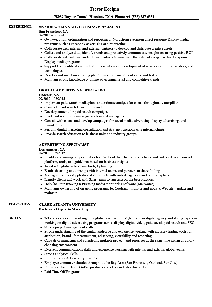 download advertising specialist resume sample as image file digital advertising resume - Online Advertising Specialist