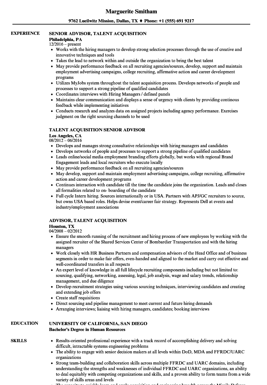 advisor  acquisition resume samples