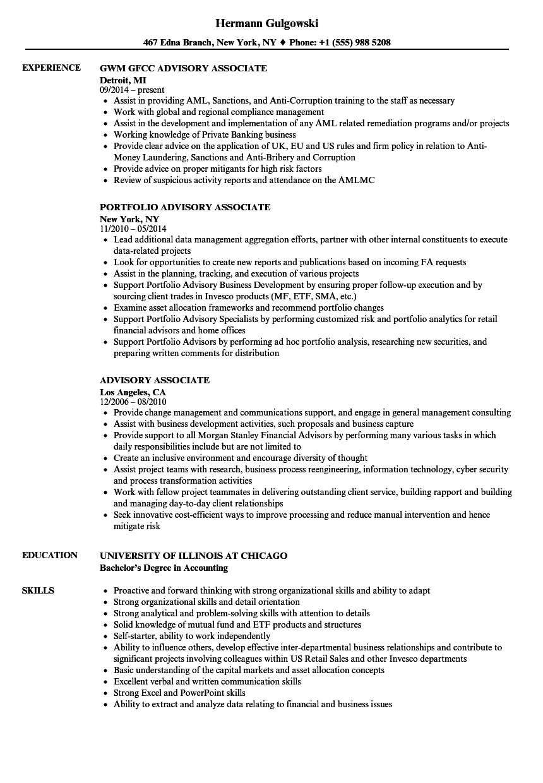 advisory associate resume samples