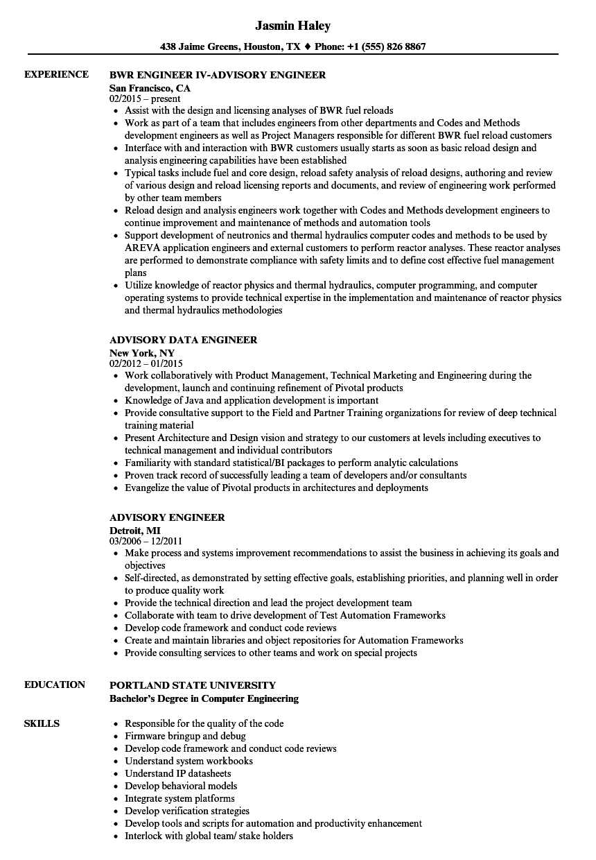 Advisory Engineer Resume Samples | Velvet Jobs
