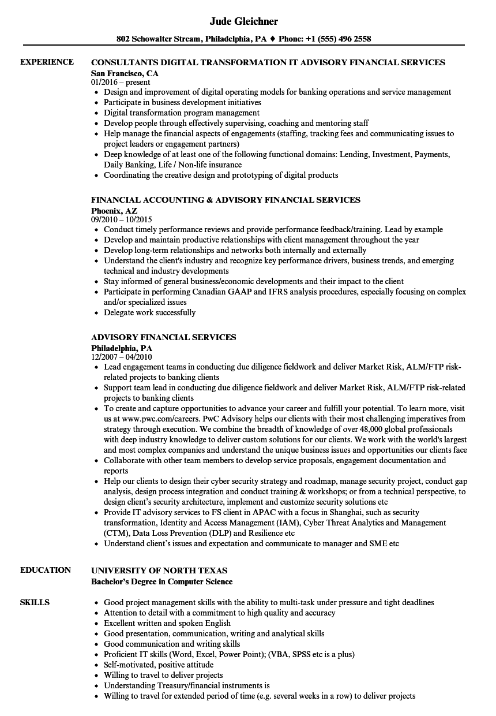 Advisory Financial Services Resume Samples | Velvet Jobs