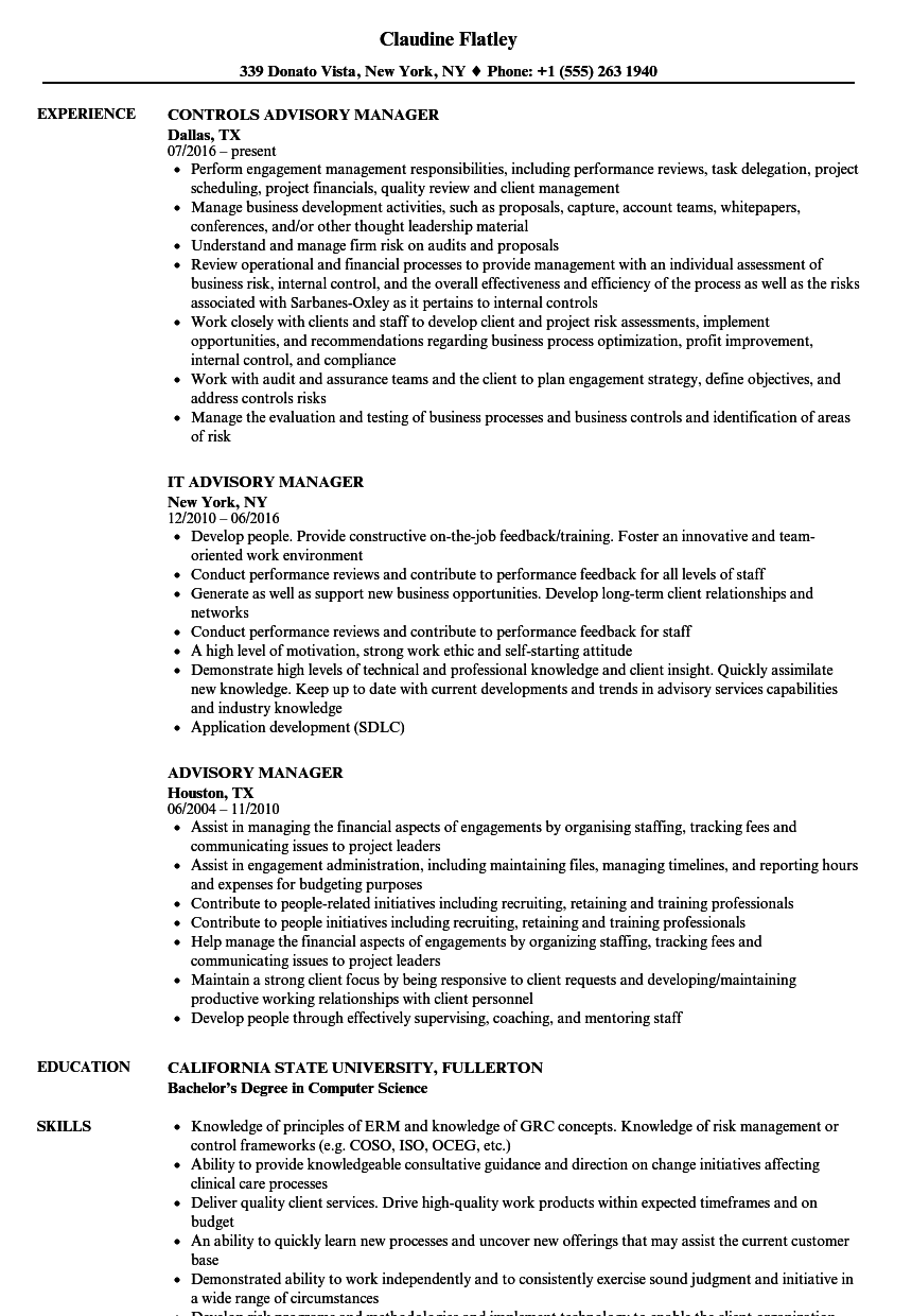Advisory Manager Resume Samples | Velvet Jobs