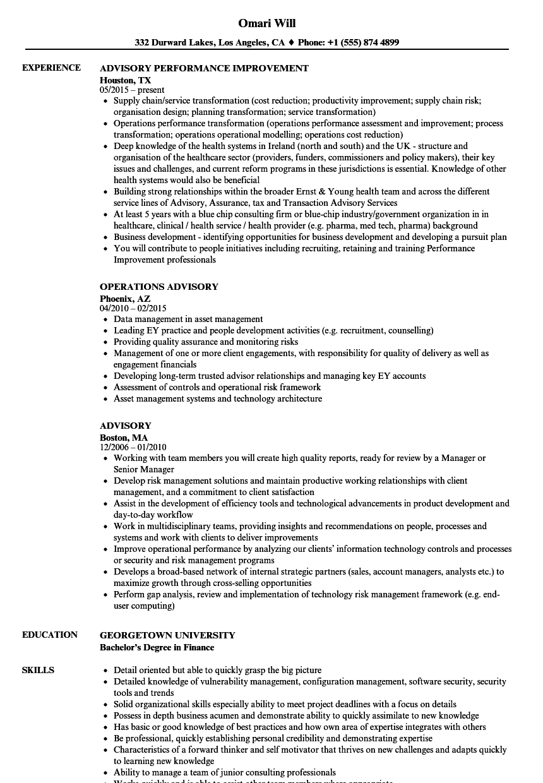 Advisory Resume Samples | Velvet Jobs