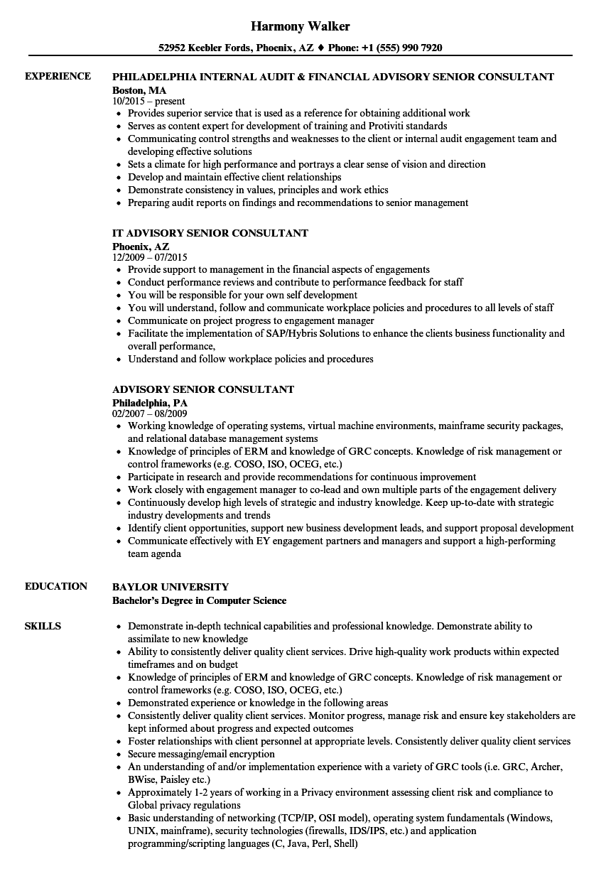 Advisory Senior Consultant Resume Samples Velvet Jobs