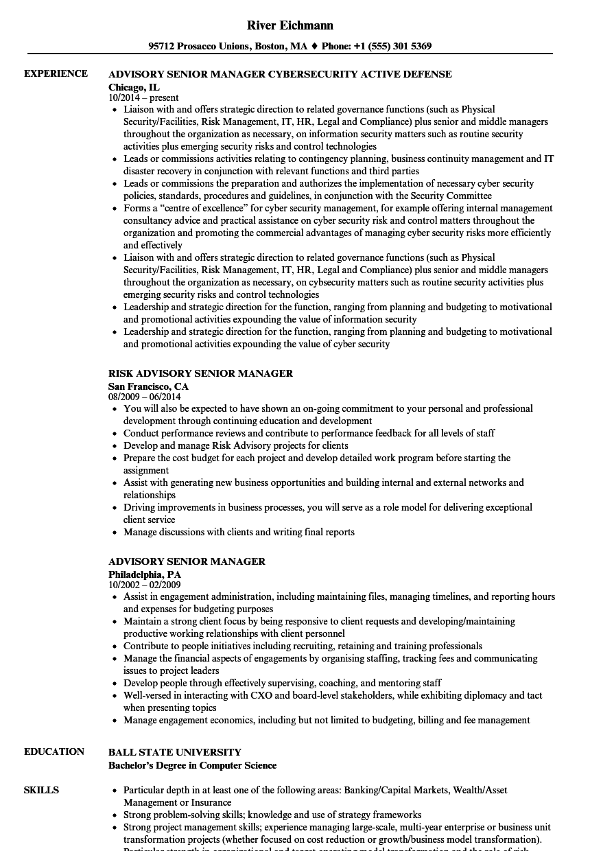 Advisory Senior Manager Resume Samples | Velvet Jobs