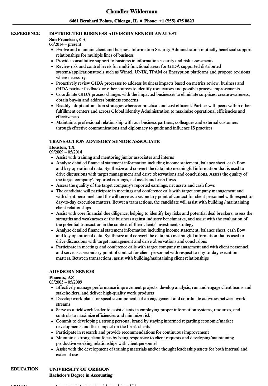 advisory senior resume samples