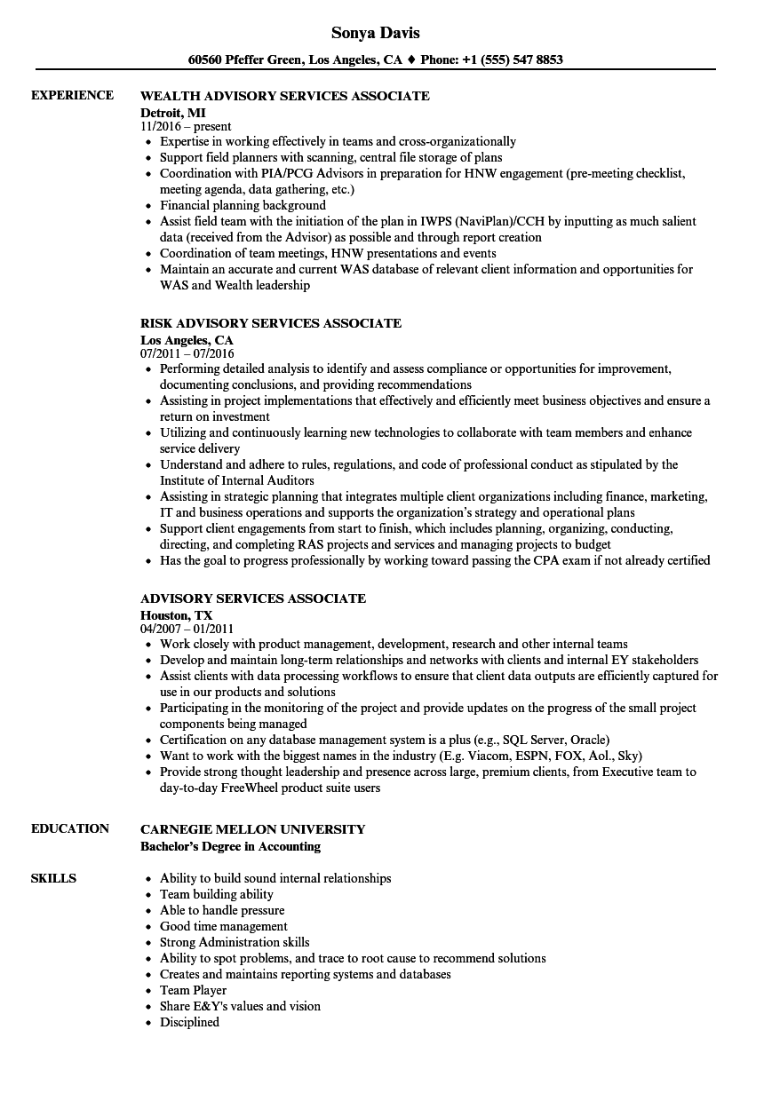 Advisory Services Associate Resume Samples | Velvet Jobs