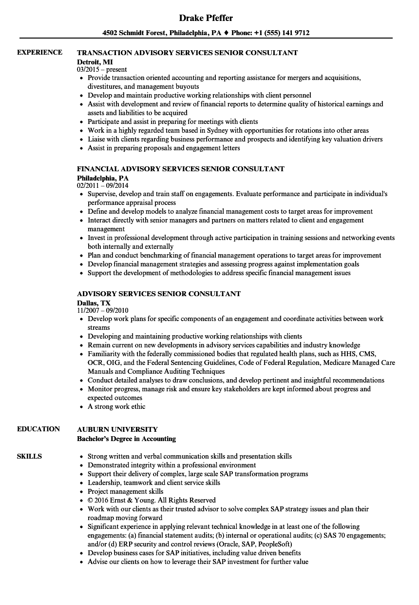 advisory services senior consultant resume samples