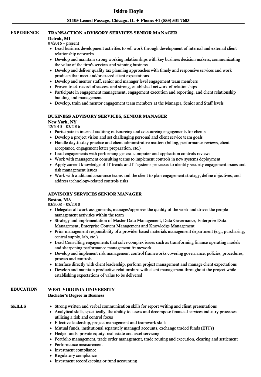 Advisory Services Senior Manager Resume Samples | Velvet Jobs