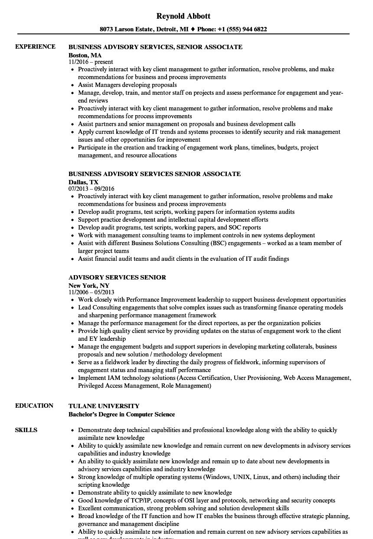 advisory services senior resume samples