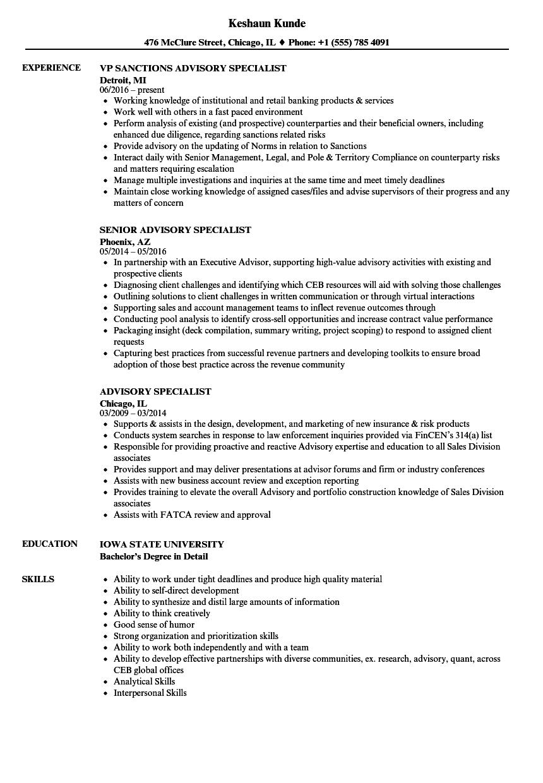 Advisory Specialist Resume Samples | Velvet Jobs