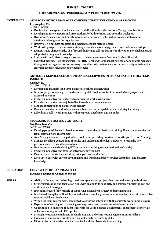 Advisory Strategy Resume Samples | Velvet Jobs