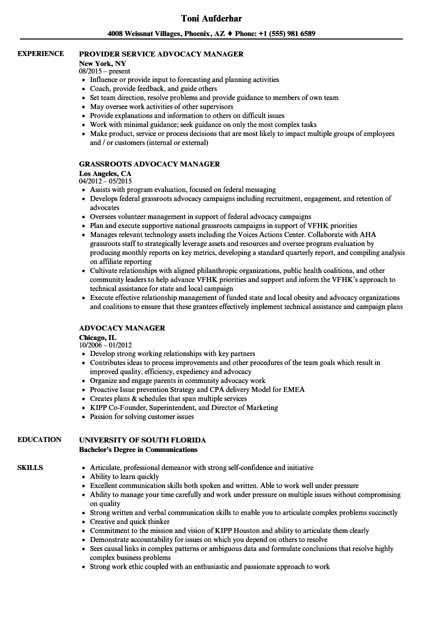 advocacy manager resume samples