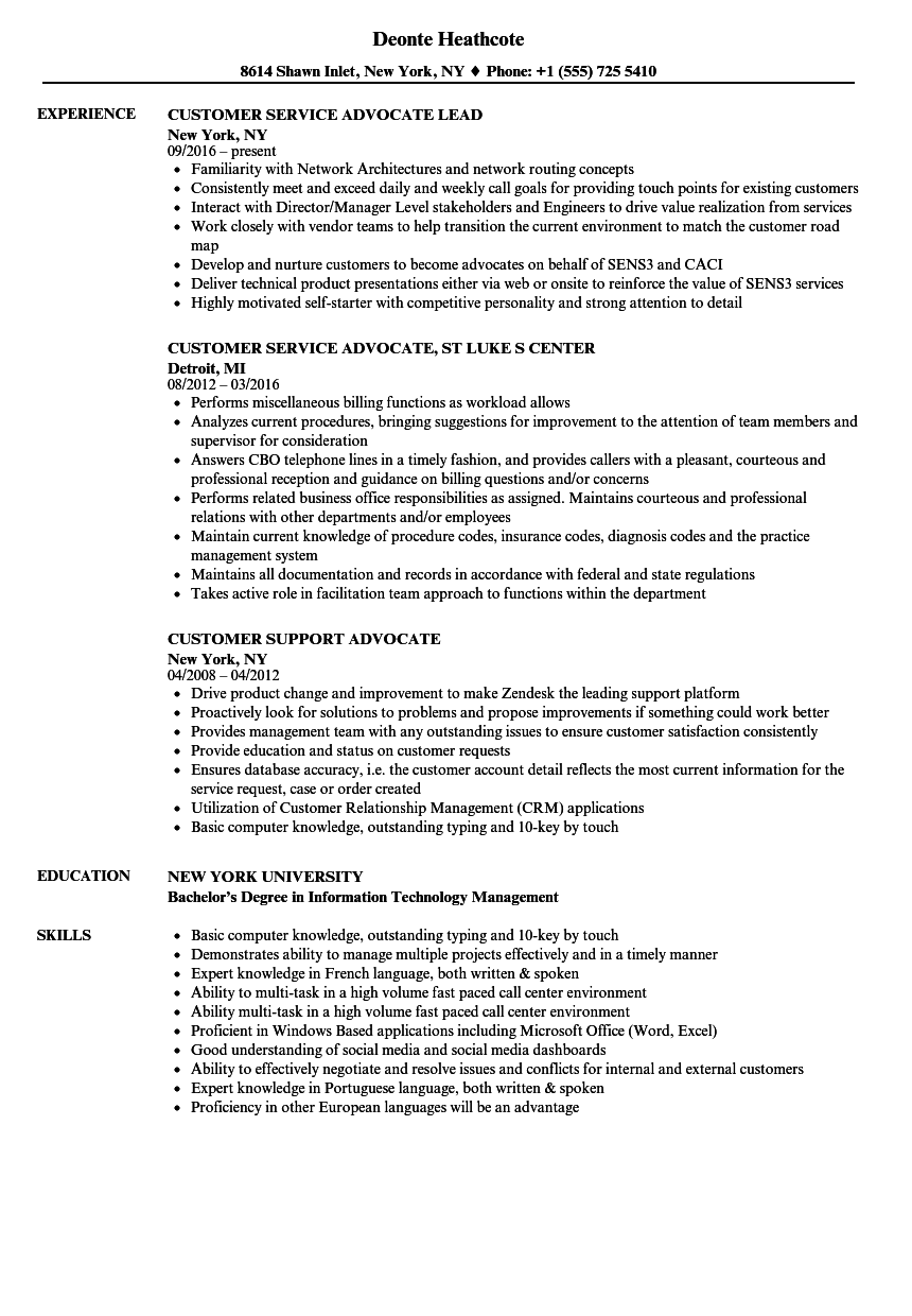 advocate  customer resume samples