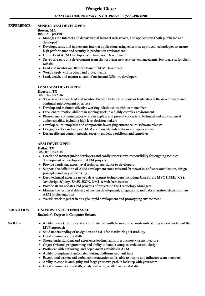 Nice Download AEM Developer Resume Sample As Image File