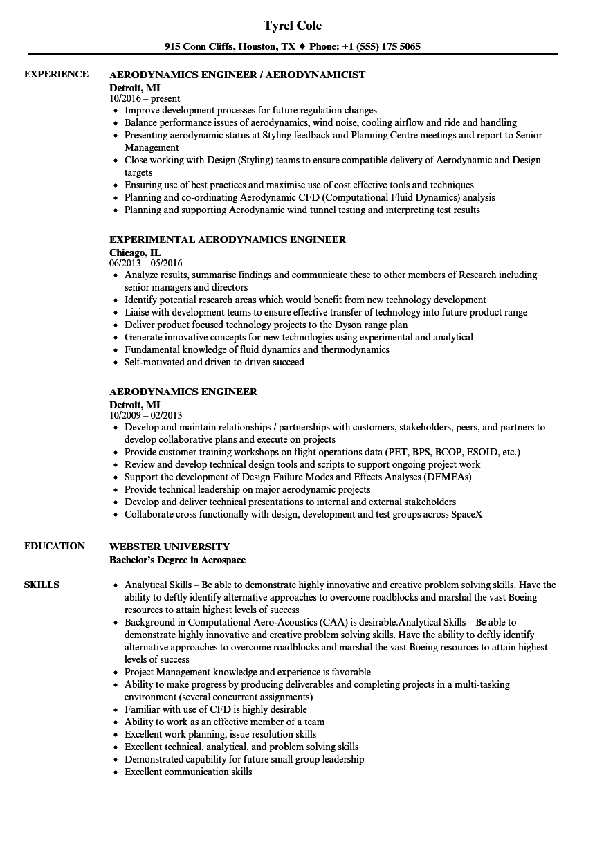 aerodynamics engineer resume samples