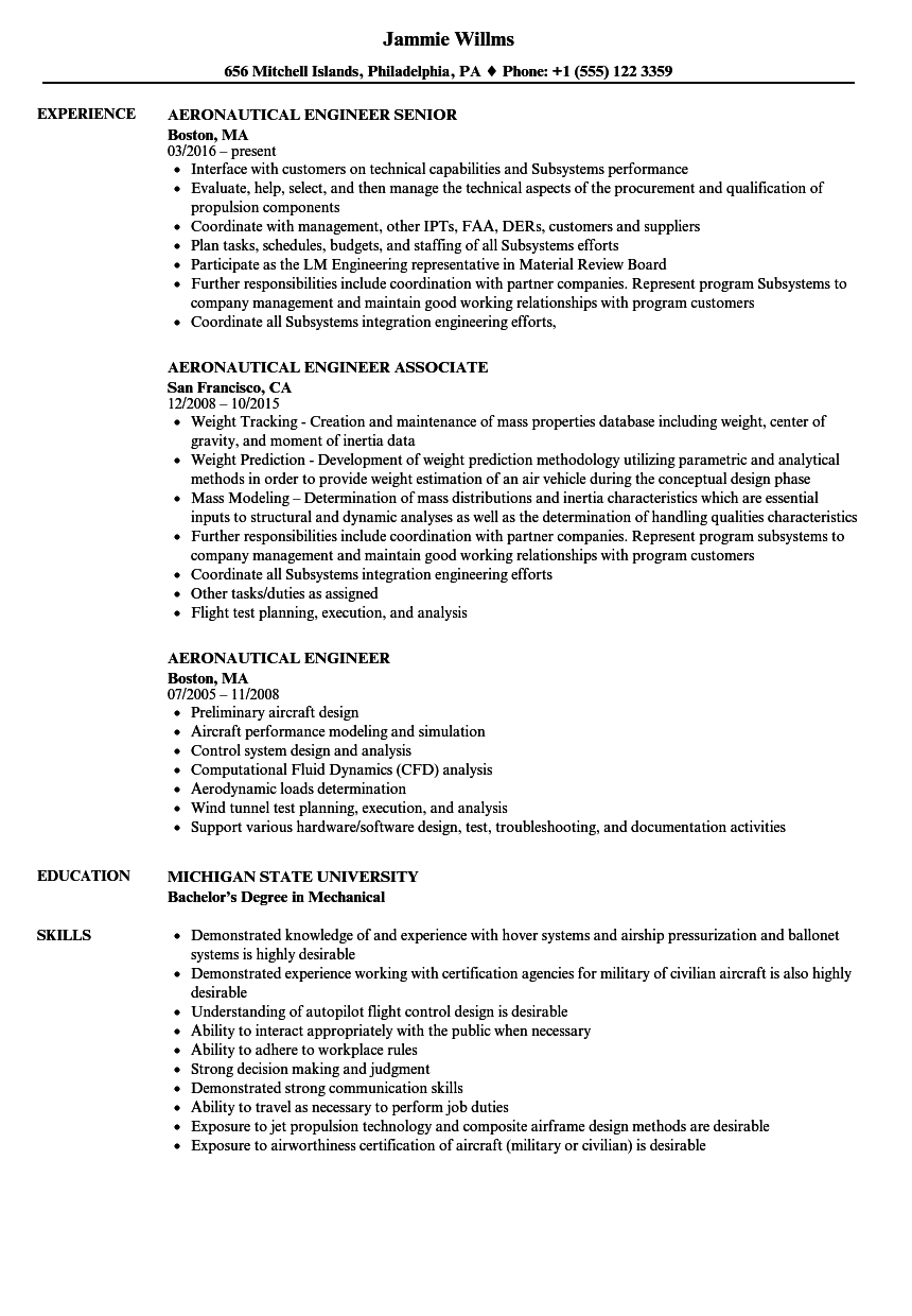 Aeronautical Engineer Resume Samples Velvet Jobs