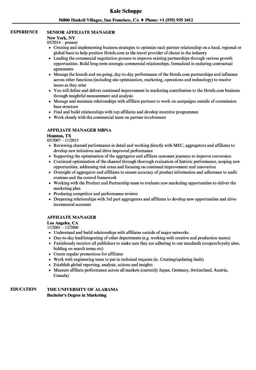affiliate manager resume samples