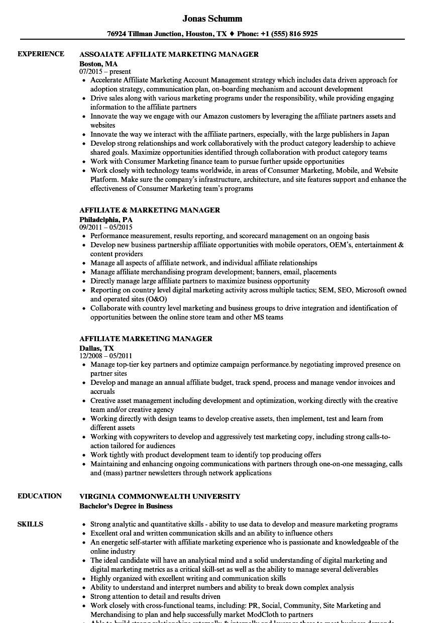 affiliate marketing manager resume samples