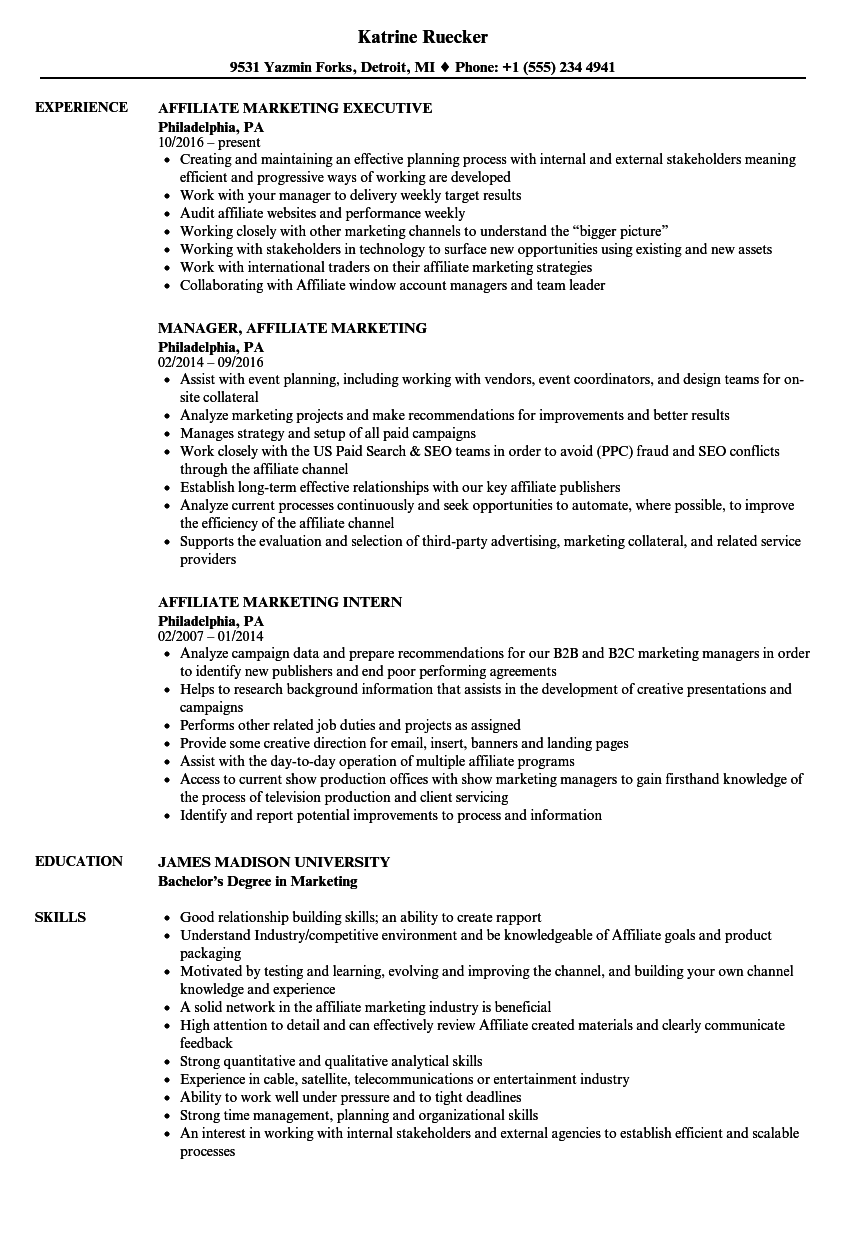 affiliate marketing resume samples